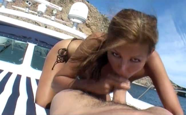 Lucky blows cock on a boat
